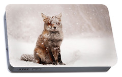 Fairytale Fox _ Red Fox In A Snow Storm Portable Battery Charger by Roeselien Raimond
