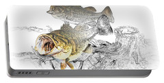 Feeding Largemouth Black Bass Portable Battery Charger by Randall Nyhof