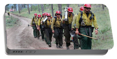 Portable Battery Charger featuring the photograph Fire Crew Walks To Their Assignment On Myrtle Fire by Bill Gabbert