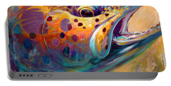 Fire From Water - Rainbow Trout Contemporary Art Portable Battery Charger by Savlen Art