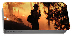Portable Battery Charger featuring the photograph Firefighter At Night On The White Draw Fire by Bill Gabbert