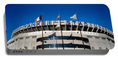 Flags In Front Of A Stadium, Yankee Portable Battery Charger by Panoramic Images