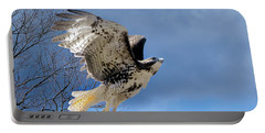 Flight Of The Red Tail Portable Battery Charger by Bill Wakeley