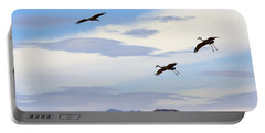 Flight Of The Sandhill Cranes Portable Battery Charger by Mike  Dawson
