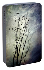 Flock Of Birds In Silhouette Portable Battery Charger by Christina Rollo