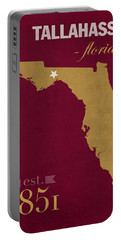 Florida State University Seminoles Tallahassee Florida Town State Map Poster Series No 039 Portable Battery Charger by Design Turnpike