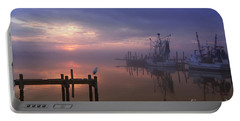 Foggy Sunset Over Swansboro Portable Battery Charger by Benanne Stiens