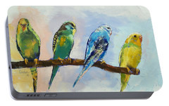 Four Parakeets Portable Battery Charger by Michael Creese