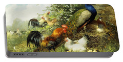 Fowl And Peacocks Portable Battery Charger by Arthur Fitzwilliam Tait