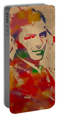 Frank Sinatra Watercolor Portrait On Worn Distressed Canvas Portable Battery Charger by Design Turnpike