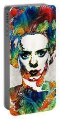 Frankenstein Bride Art - Colorful Monster Bride - By Sharon Cummings Portable Battery Charger by Sharon Cummings