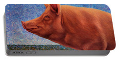 Free Range Pig Portable Battery Charger by James W Johnson