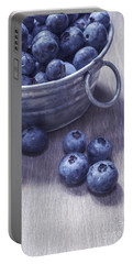 Fresh Picked Blueberries With Vintage Feel Portable Battery Charger by Edward Fielding