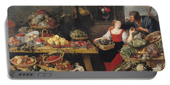 Fruit And Vegetable Market Oil On Canvas Portable Battery Charger by Frans Snyders