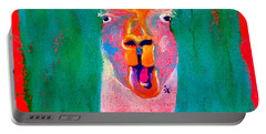 Funky Llama Art Print Portable Battery Charger by Sue Jacobi