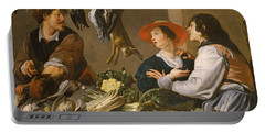 Game And Vegetable Sellers Oil On Canvas Portable Battery Charger by Theodor Rombouts