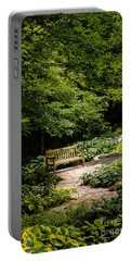 Garden Bench Portable Battery Charger by Joe Mamer