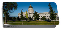 Garden In Front Of Utah State Capitol Portable Battery Charger by Panoramic Images