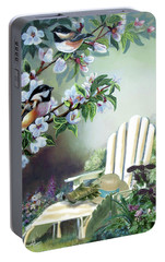 Chickadees In Blossom Tree Portable Battery Charger by Regina Femrite
