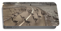 Geese Crossing Portable Battery Charger by Jane Linders
