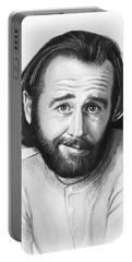 George Carlin Portrait Portable Battery Charger by Olga Shvartsur