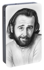 George Carlin Portrait Portable Battery Charger by Olga Shvartsur