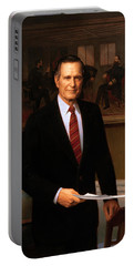 George Hw Bush Presidential Portrait Portable Battery Charger by War Is Hell Store