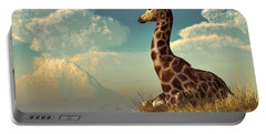 Giraffe And Distant Mountain Portable Battery Charger by Daniel Eskridge
