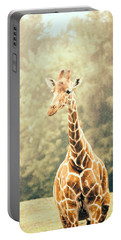 Giraffe In The Rain Portable Battery Charger by Pati Photography
