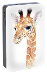 Giraffe Watercolor Portable Battery Charger by Olga Shvartsur