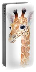 Giraffe Watercolor Portable Battery Charger by Olga Shvartsur