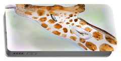 Giraffe With Tongue Out Portable Battery Charger by Pati Photography