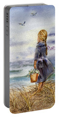Girl And The Ocean Portable Battery Charger by Irina Sztukowski