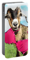 Goat Art - Oh You're Home Portable Battery Charger by Sharon Cummings