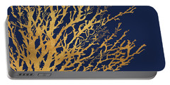 Gold Medley On Navy Portable Battery Charger by Lanie Loreth