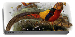 Golden Pheasants Portable Battery Charger by Joseph Wolf