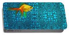 Goldfish Study 3 - Stone Rock'd Art By Sharon Cummings Portable Battery Charger by Sharon Cummings