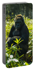Gorilla Sitting On A Stump Portable Battery Charger by Chris Flees