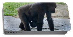 Gorilla With Baby Holding On Portable Battery Charger by Chris Flees