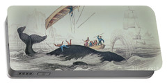Greenland Whale Book Illustration Engraved By William Home Lizars  Portable Battery Charger by James Stewart