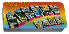 Greetings From Asbury Park Nj Portable Battery Charger by Bill Cannon