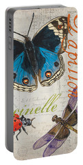 Grey Postcard Butterflies 4 Portable Battery Charger by Debbie DeWitt