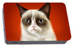 Grumpy Cat Portable Battery Charger by Olga Shvartsur