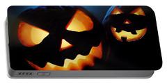 Halloween Pumpkins Closeup -  Jack O'lantern Portable Battery Charger by Johan Swanepoel