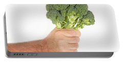 Hand Holding Broccoli Portable Battery Charger by James BO  Insogna