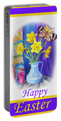 Happy Easter Daffodils Portable Battery Charger by Irina Sztukowski