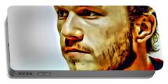 Heath Ledger Portrait Portable Battery Charger by Florian Rodarte