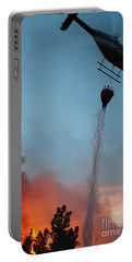 Portable Battery Charger featuring the photograph Helicopter Drops Water On White Draw Fire by Bill Gabbert