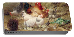 Hens Roosting With Their Chickens Portable Battery Charger by Eugene Remy Maes