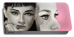 Audrey Hepburn - ' Hepburn ' Portable Battery Charger by Christian Chapman Art